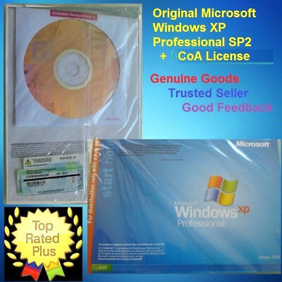 Microsoft Windows XP Professional 32-Bit CD SP2 Full Version & CoA 7 License 10