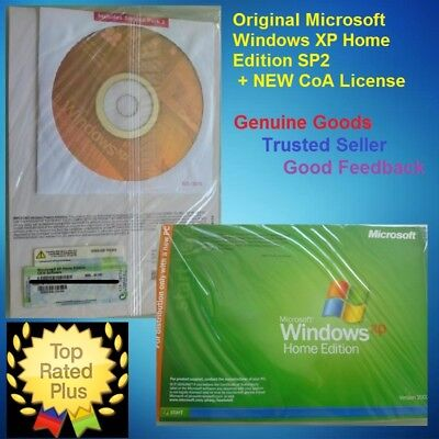 Microsoft Windows XP Home Edition 32-Bit CD SP2 Full Version & CoA License 10 7