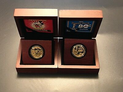 2014 Disney Mickey Mouse Steamboat Willie & Donald Duck 80th Anni Gold Coin Set