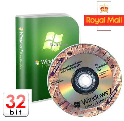 Microsoft Windows 7 Home Premium 32-Bit DVD Full Version & CoA License key 10