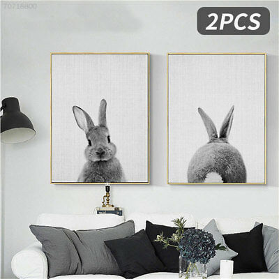 C60E 0C0A 2pcs Canvas Print Picture Canvas Painting Rabbit Pattern Home Decor