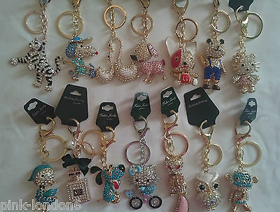 Wholesale joblot of 100 Gold Silver keyring chain crystal bling bag charm assort