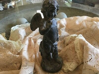Antique vintage cherub putti angel statue figure heavy metal spelter patina