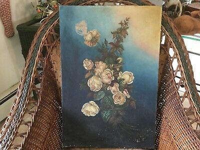 Antique signed Gardner dated 1903 oil on canvas garden floral painting of roses