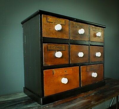 Antique victorian apothecary drawers, bank of pharmacy drawers 19th century