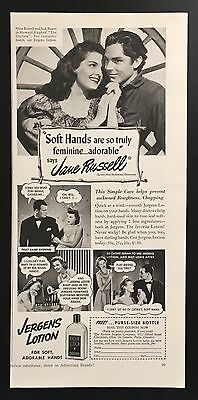 """1941 Jergens Hand Lotion Jane Russell """"The Outlaw"""" movie beauty vintage print ad"""