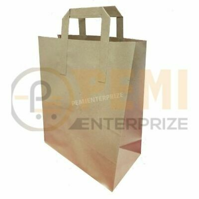 25 Small SOS Kraft Craft Brown Paper Takeaway Food Strong Carrier Bags FREE DEL
