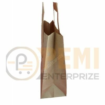 50 Premium Quality Medium SOS Kraft Craft BROWN Paper Takeaway Food Carrier Bag