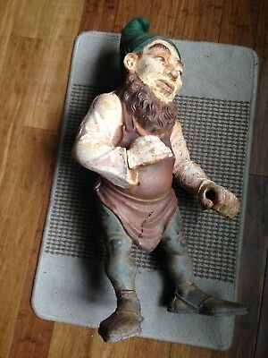Antique RARE Large 27 In Signed NU-Y-DEA Cast Iron Garden Gnome Sculpture As Is