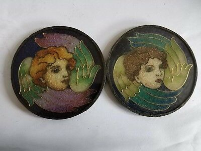2 matching Angel Antique Vintage Stain Glass Effect Roundels