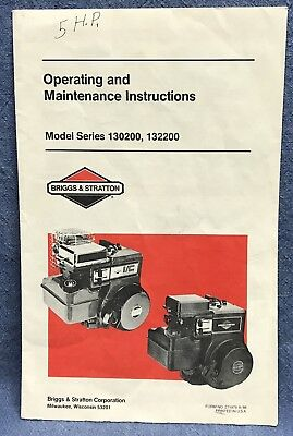 Qty (1) Briggs & Stratton Operating/Maintenance Manual Models 130200, 132200