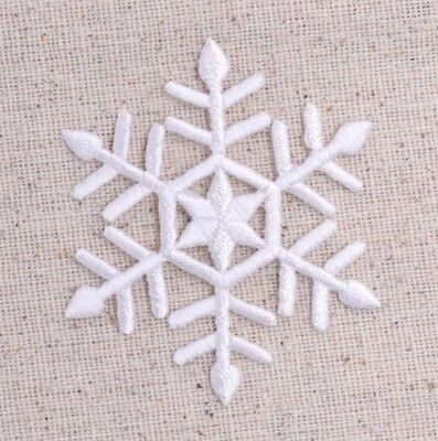"Large White Snowflake 2-3/8"" Christmas/Winter Iron on Applique/Embroidered Patch"