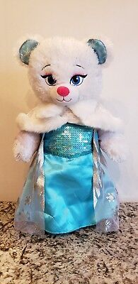 Build a Bear Disney Frozen Princess Elsa Plush Doll Dress Sound Costume and Cape