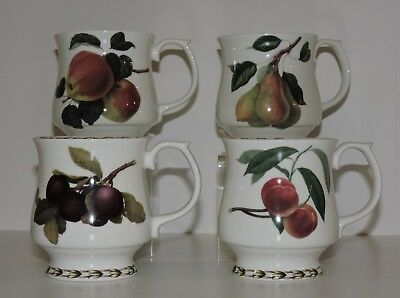 Queen's RHS Hooker's Fruit, Fine Bone China Set of 4 Footed Cups Mugs Coffee Tea