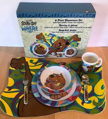NIB SCOOBY DOO 6 Pc Dinnerware Set Plate Spoon Fork Bowl Cup Placemat 1998 Zak