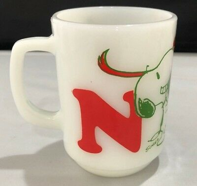 Vintage Anchor Hocking Fire King Snoopy Noel Mug(s)