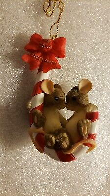 """Charming Tails By Fitz And Floyd """"our First Christmas"""" Ornament Nib"""