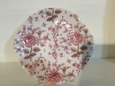 "(1) Johnson Brothers Rose Chintz Pink 10"" Handled Cake Plate Green Mark"