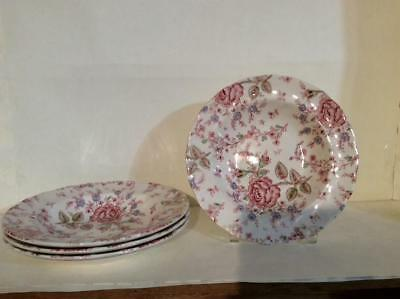 "(4) Johnson Brothers Rose Chintz Pink 8 1/2"" large Rim Soup Bowls Green Mark"