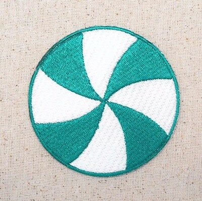 "Large 3"" - Peppermint Candy - Green/White - Embroidered Patch/Iron on Applique"