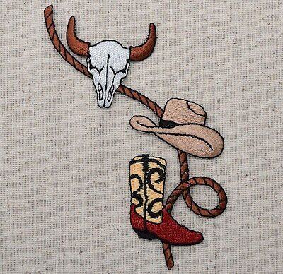 85cd40edc26 Iron On Embroidered Applique Patch Western Cow Skull Cowboy Hat Boots with  Rope