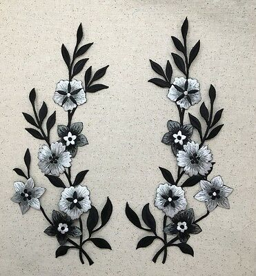 Set 2 - Large Flowers - Black/Silver/White Iron on Applique/Embroidered Patch