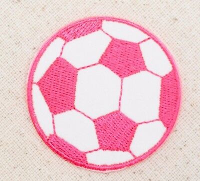 "Large 2"" - Soccer Ball - Neon Pink/White - Iron on Applique/Embroidered Patch"
