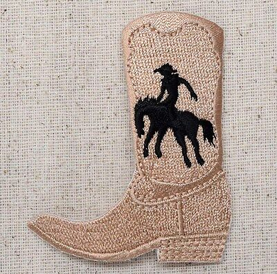 55b8397faed Western Rodeo Roper Taupe Black Cowboy Boot Iron on Applique Embroidered  Patch