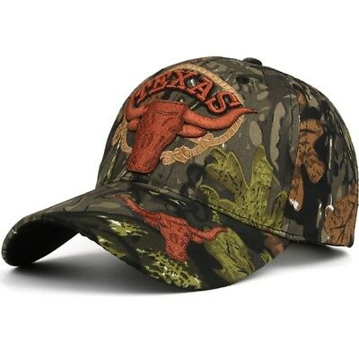 73ad9420af3 Camouflage Baseball Cap Adjustable TEXAS Embroidery Hunter Fishing Dad Hat