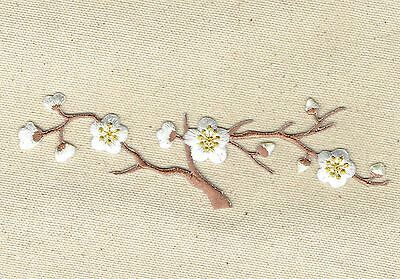 Large Quince WHITE Flowers/Blossom/Brown Stem Iron on Applique/Embroidered Patch