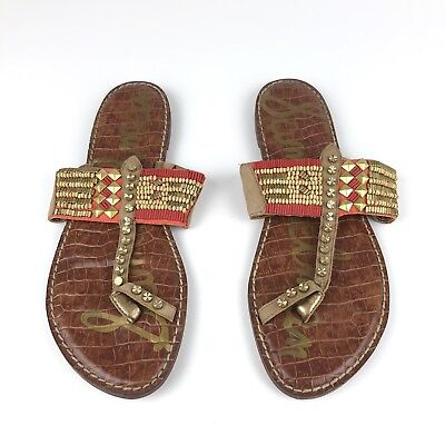 3a56371d4bf0f SAM EDELMAN Gideon Beaded Toe Ring Sandals Size US 10.5M Natural Multi Red  Gold