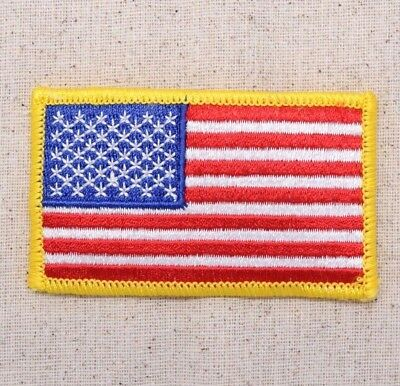 """3-1/2"""" American Flag - Yellow Border/USA - Iron on Applique/Embroidered Patch"""