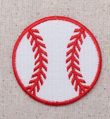 d2730a4d0c70c Large Baseball White Red Team Sports Ball - Iron on Applique Embroidered  Patch