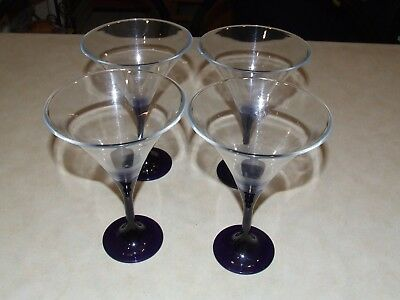 Tupperware Martini/ Wine Glasses Set Of 4 - Blue Stems