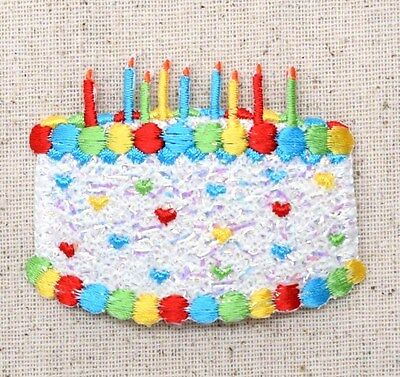 Large White Birthday Cake Confetti/Shimmery - Iron on Applique/Embroidered Patch