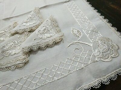 ANTIQUE SOCIETY SILK Arts & Crafts Heavy Linen Hand Embroidery Tablecloth Napkin