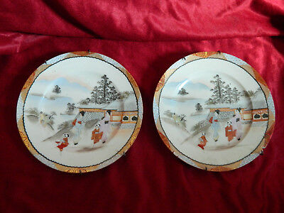 2 Antike Alte China Wand Teller A Chinese Famille Porcelain Plate Cinese Chinois