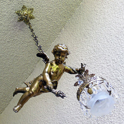 Antique French Victorian All Bronze Chandelier Cherub Single Light