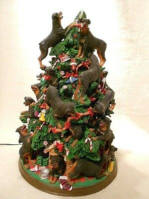 Retired Unique Rottweiler Christmas Tree by the Danbury Mint with lights