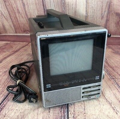 Vintage TMK Toyomenka Portable Color TV Model 755C With TMK AD-8055 AC Adapter
