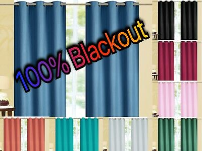 Kendal 100% BLACKOUT Foam Back Window Curtain Set - Two Panels All Size / Colors