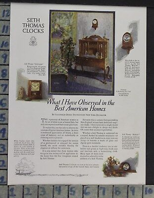 1923 Home Decor Seth Thomas Clock Design Style Household Time Vintage Ad Cp61