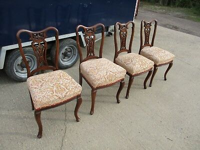 A Set of 4 Four Late Victorian Mahogany Dining Chairs 20th Century Carved Back