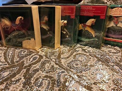 hallmark rocking horse series ornaments 1983-1996 And Anniversary Horse!