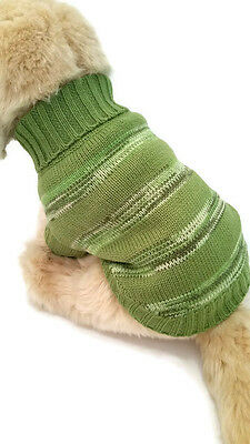 Small Dog Green Striped Sweater Pet Clothes Winter Apparel Puppy