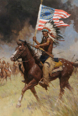 Warrior On Horse Native American Indian Western Battle Hand Painted Oil Painting