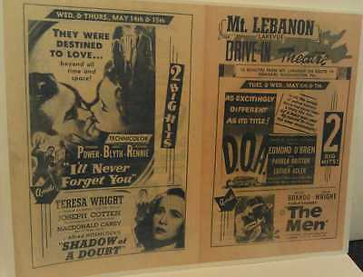 c1950s Mt. Lebanon Pa. Lakeview Drive-In Movie Theatre Rt. 19 Pittsburgh Poster