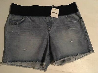New Look Maternity Denim Shorts, Size 20 Under Bump Ripped Destroyed BNWT NEW