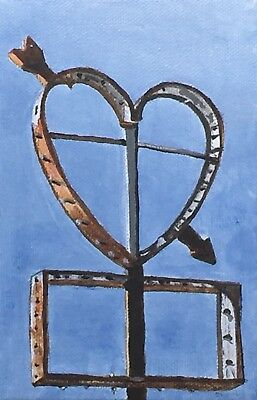 ATOMIC GIN FIZZ ORIGINAL Painting, Art Colorful Broken Heart Retro Love Sign