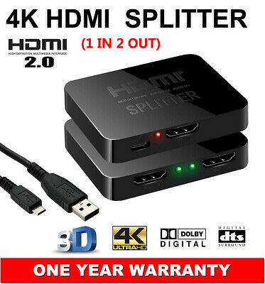 HDMI v2.0 Splitter 1 In 2 Out HDCP 1.4 4K@60Hz UHD 3D Ultra HD For PS3 PS4 DVD